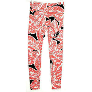 Alo Womens Pink Black Leaf Print Leggings Size XS